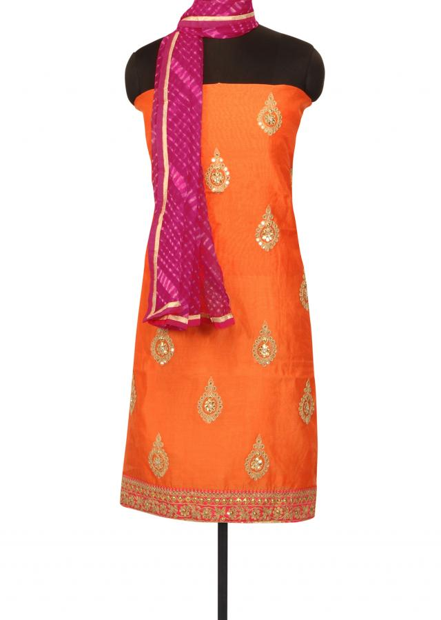Peach unstitched suit in kundan and zari butti only on Kalki