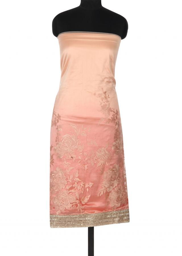Peach unstitched suit adorn in resham embroidery only on Kalki
