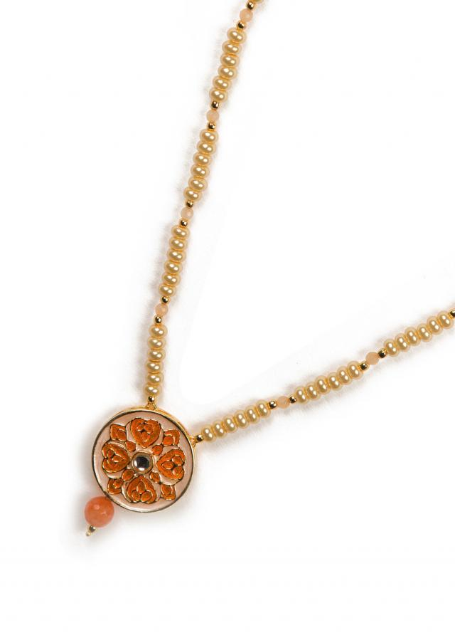 Peach and gold beaded necklace only on Kalki