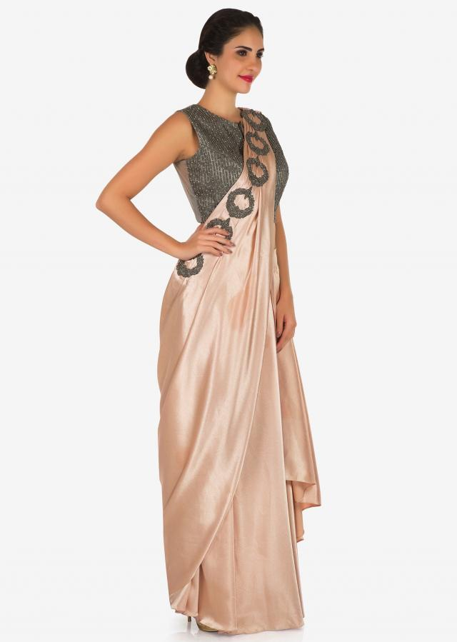 Peach and grey lehenga saree in heavy satin carved in moti embroidery work only on Kalki