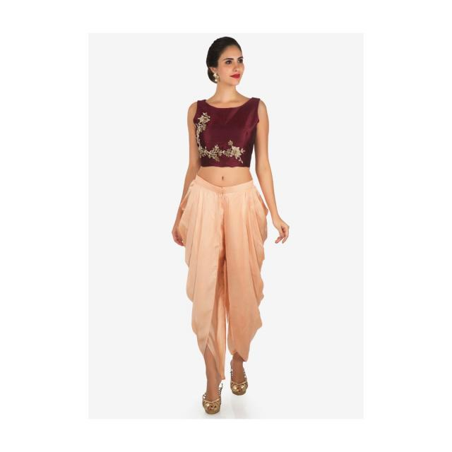 Peach and maroon dhoti suit enhanced in zardosi embroidered work only on Kalki
