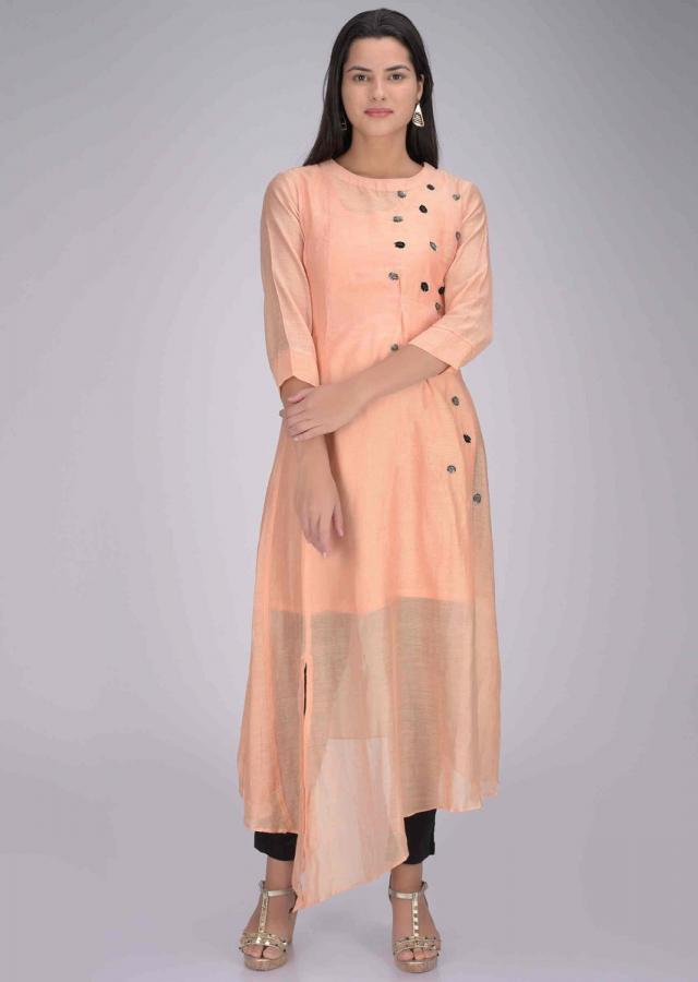 Peach Kurti In Cotton Fabric Online - Kalki Fashion