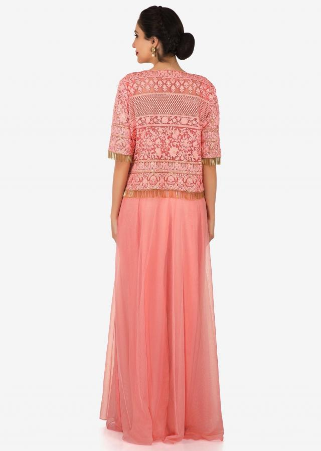 Peach palazzo suit with a jacket embellished in beautiful thread work only on Kalki