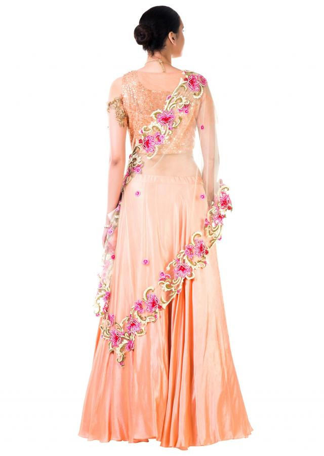 Peach Blouse With Sequins Embroidery And Peach Lehenga With Thread Work Embroidery Online - Kalki Fashion