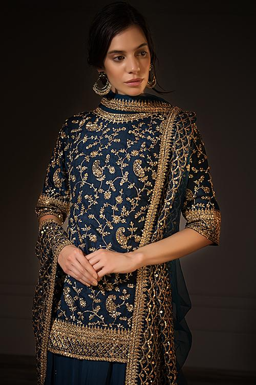 Peacock blue cotton silk palazzo suit set in zari embroidery only on Kalki