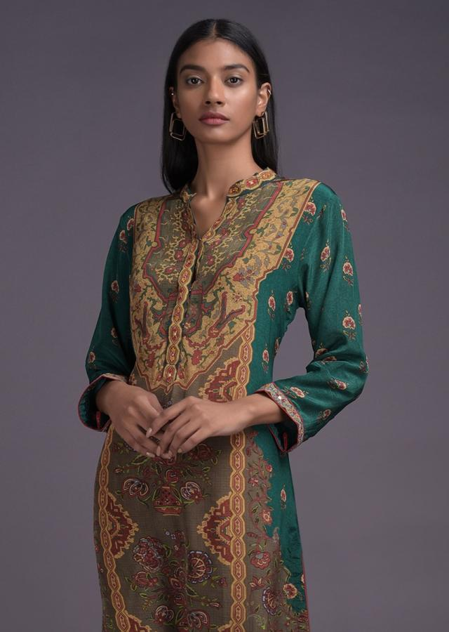 Peacock Green  Kurta In Crepe With Ethnic Flower Pot Print Online - Kalki Fashion