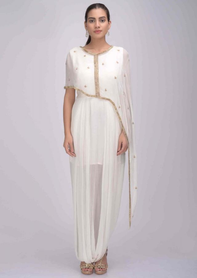 Pearl White Jumpsuit In Chiffon With Embellished Asymmetric Cape Online - Kalki Fashion