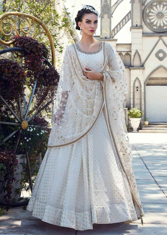 Pearl White Suit In Cotton Silk With Matching Net Dupatta Online - Kalki Fashion