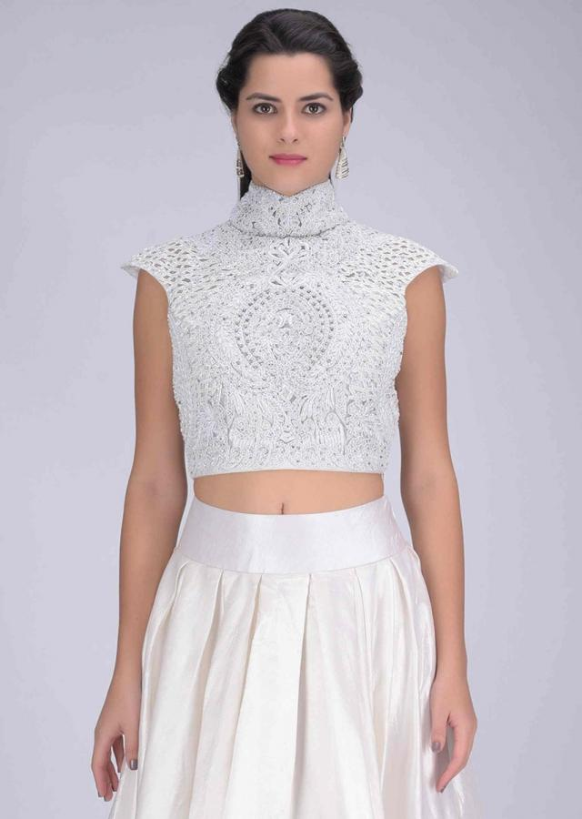 Pearl White Lehenga In Crepe Satin With Embellished Net Blouse And Dupatta Online - Kalki Fashion