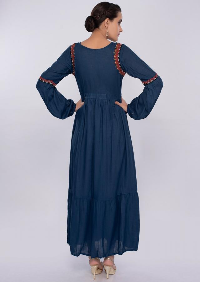 Persian blue cotton tunic dress with gathers only on kalki