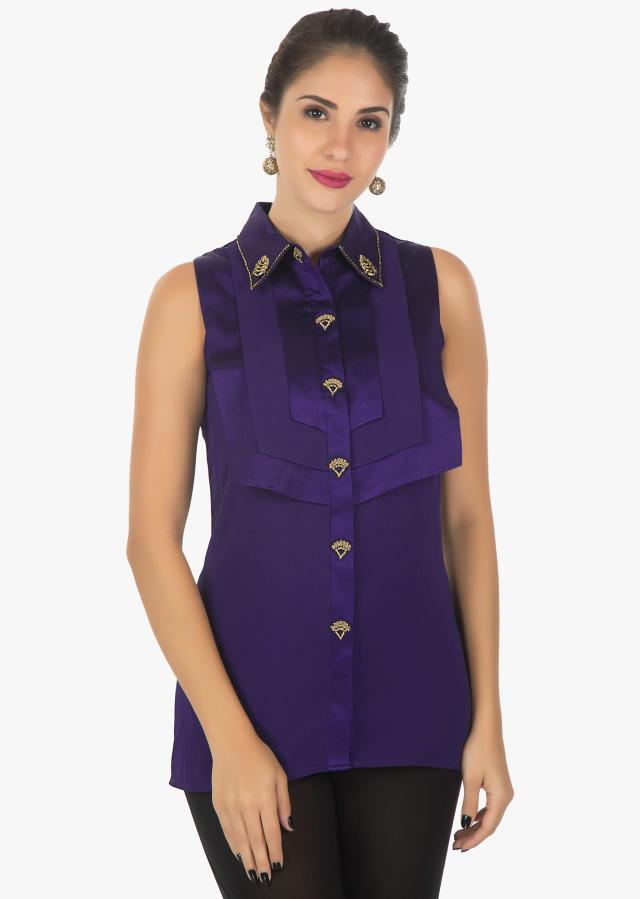 Persian Blue Kurti In Georgette With Flaps Over Lapping Each Other On The Bodice Online - Kalki Fashion