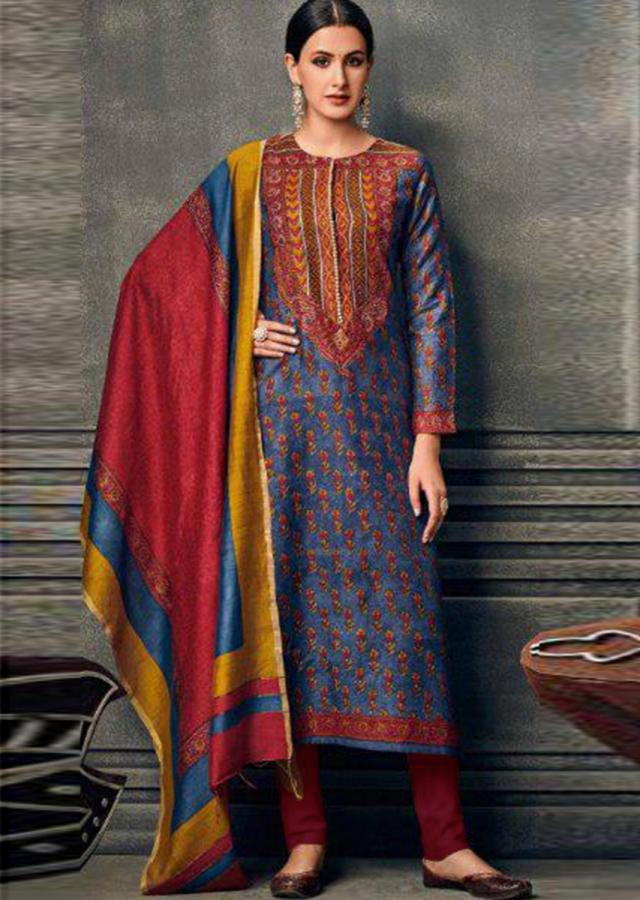 Turq Blue A Line Suit In Cotton Silk With Flroal Print And Zari Work Online - Kalki Fashion