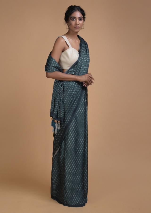 Pine Green Saree In Satin Blend With Printed Floral Buttis All Over Online - Kalki Fashion