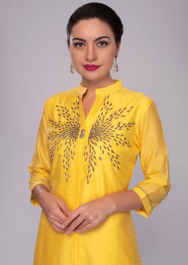 Pine Yellow Tunic In Embroidered Cotton With Georgette Under Layer In Weaved Butti Online - Kalki Fashion