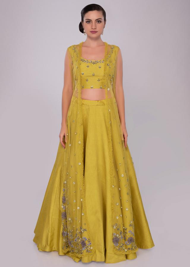 Pine yellow raw silk lehenga set with embroidered net jacket only on Kalki