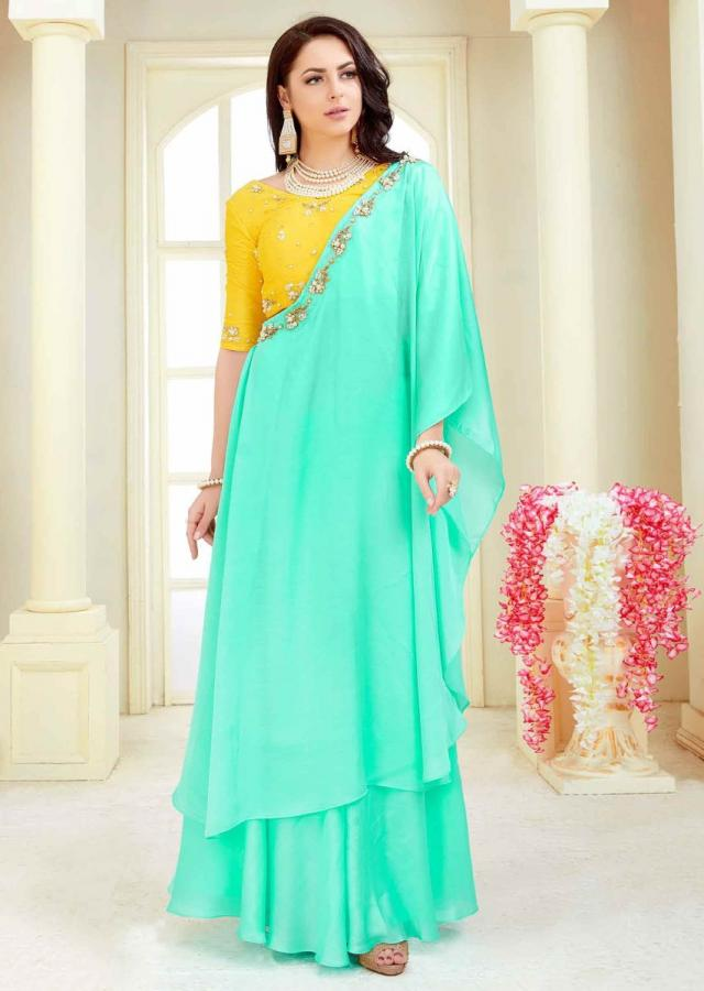 Pineapple Yellow Blouse In Cotton Silk With Mint Green Crepe Skirt With Prestitched Dupatta Online - Kalki Fashion