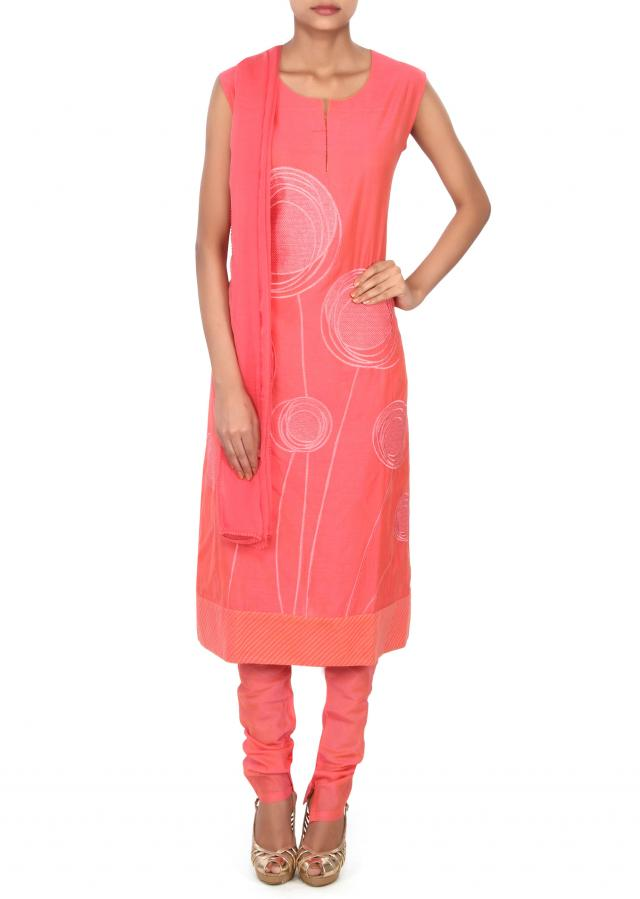 Pink A line suit adorn in resham embroidery only on Kalki