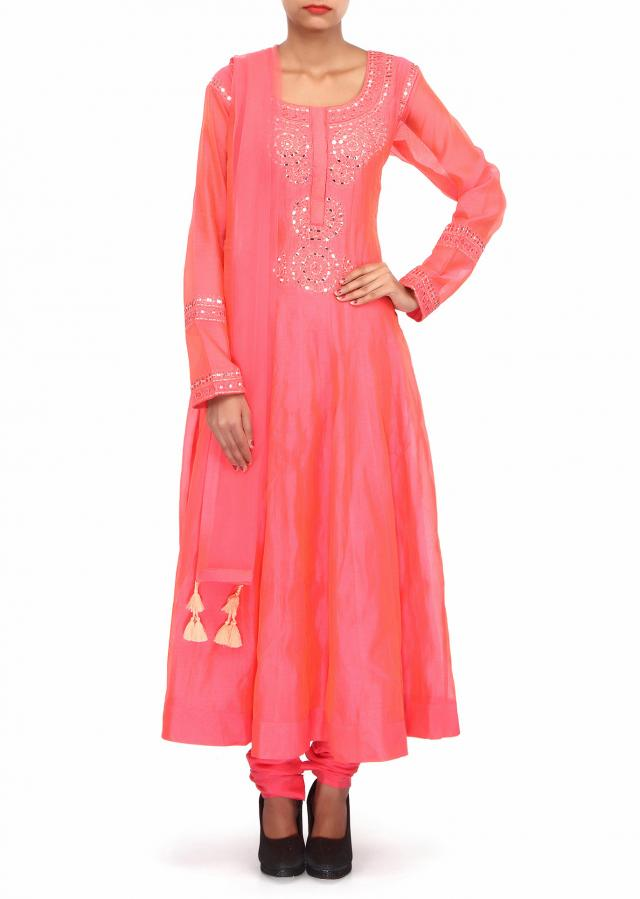 Pink anarkali suit adorn in mirror and resham embroidery only on Kalki
