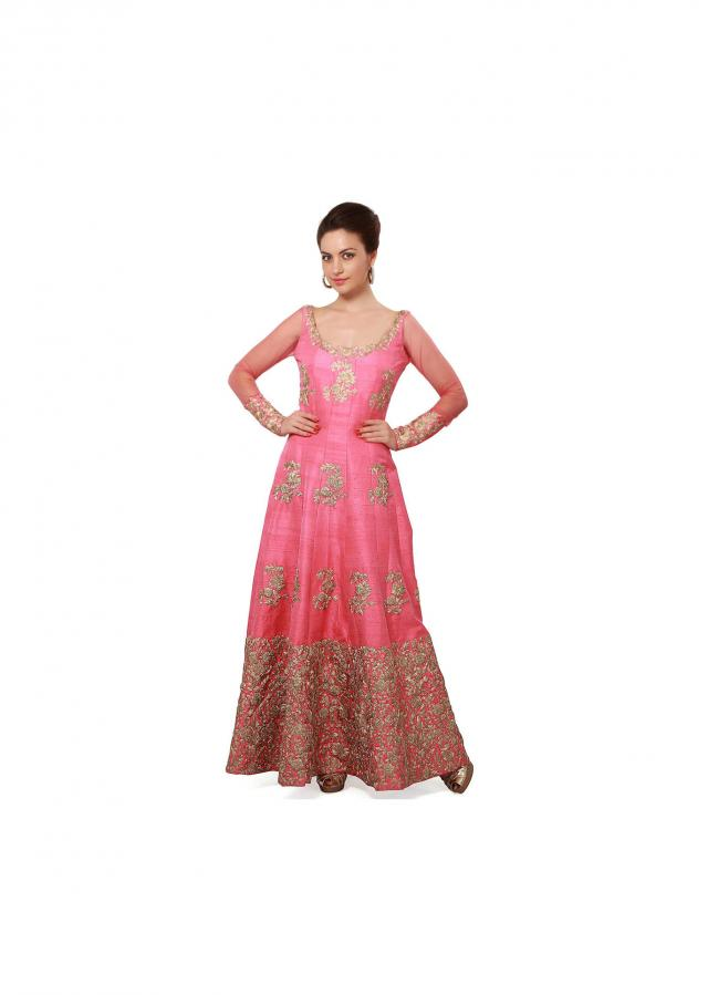 Pink anarkali suit embellished in zari embroidery only on Kalki