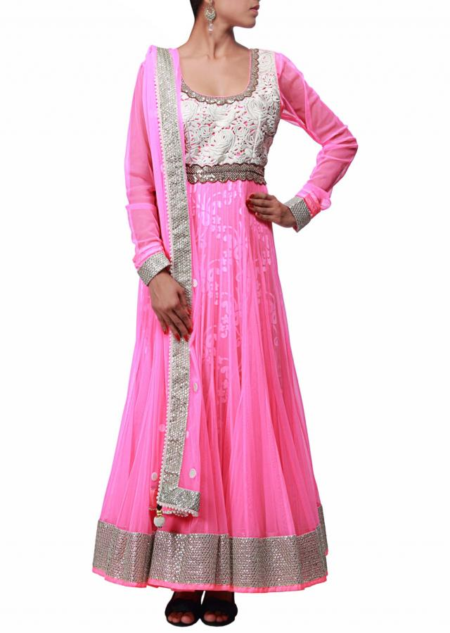 Pink anarkali suit with resham embroidered bodice only on Kalki