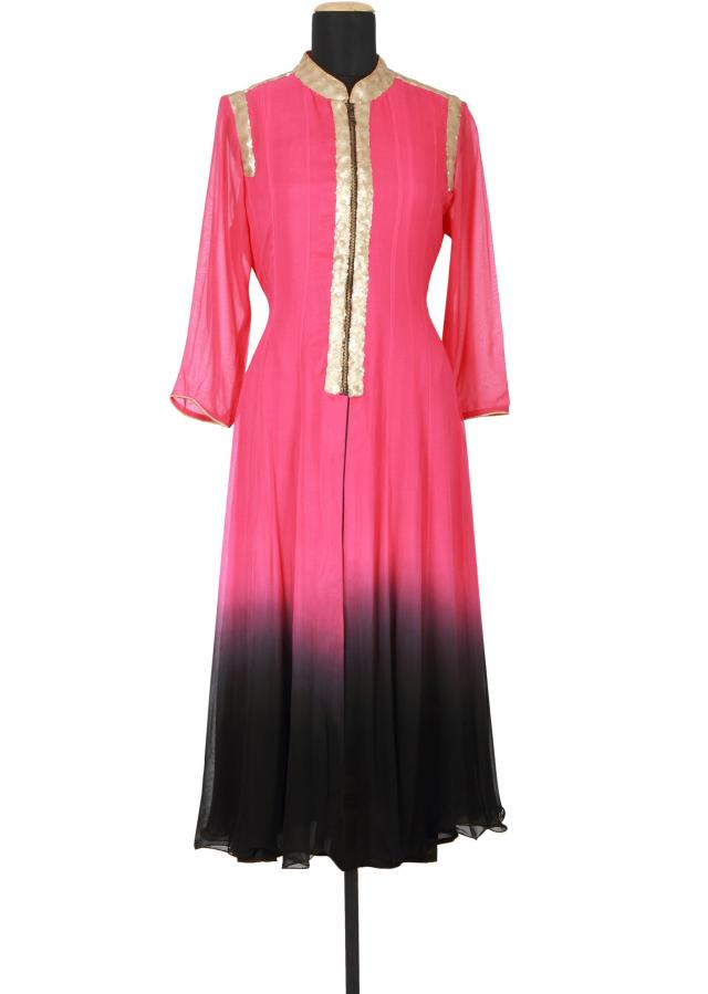 Pink and black kurti featured in georgette only on Kalki