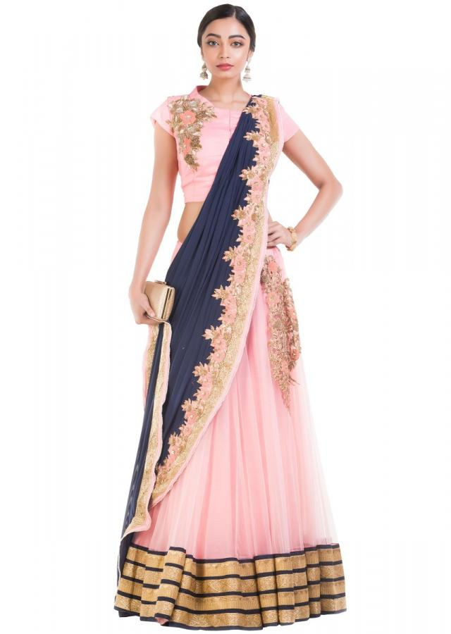 Pink And Blue Drape Lehenga With Attached Dupatta