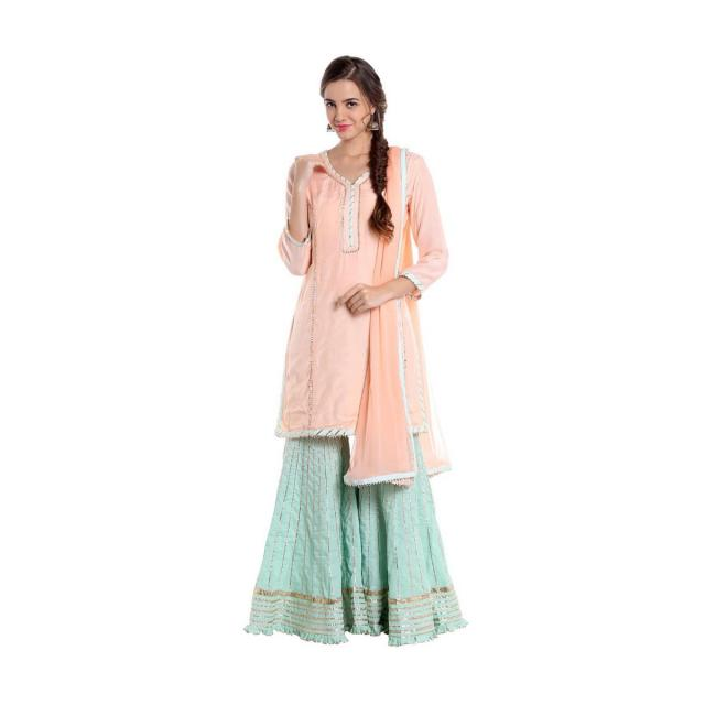 Pink and blue ethnic suit with zardosi work only on Kalki