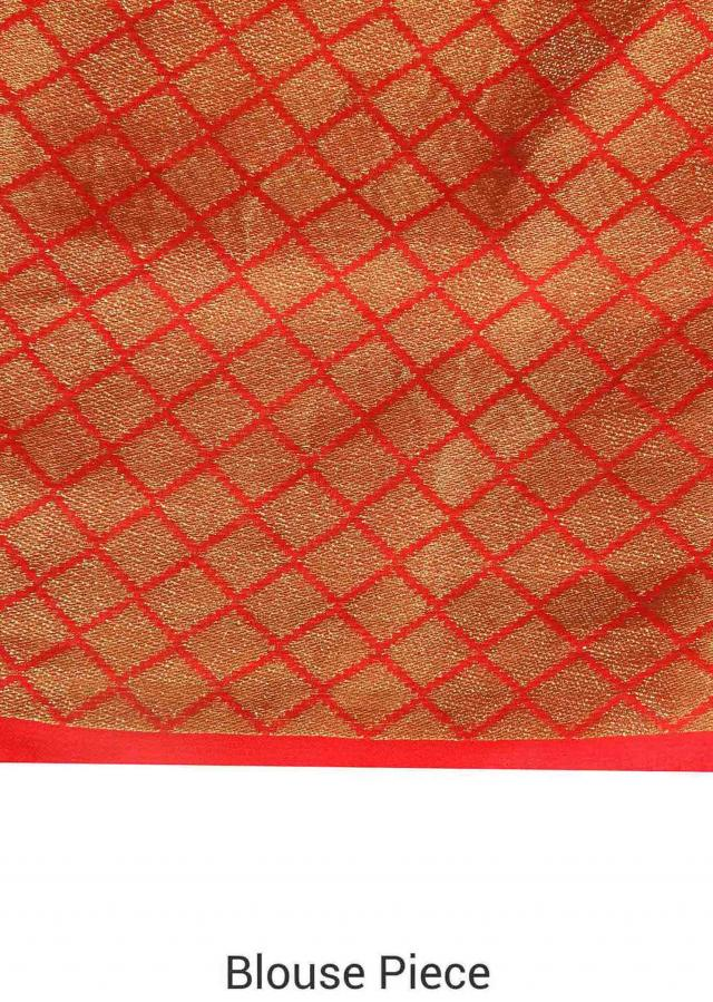 Pink and coral shaded saree in weaved butti only on Kalki