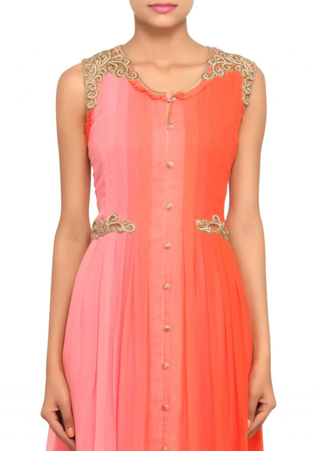 Pink and orange ombre anarkali with embossed zardosi embroidery only on Kalki