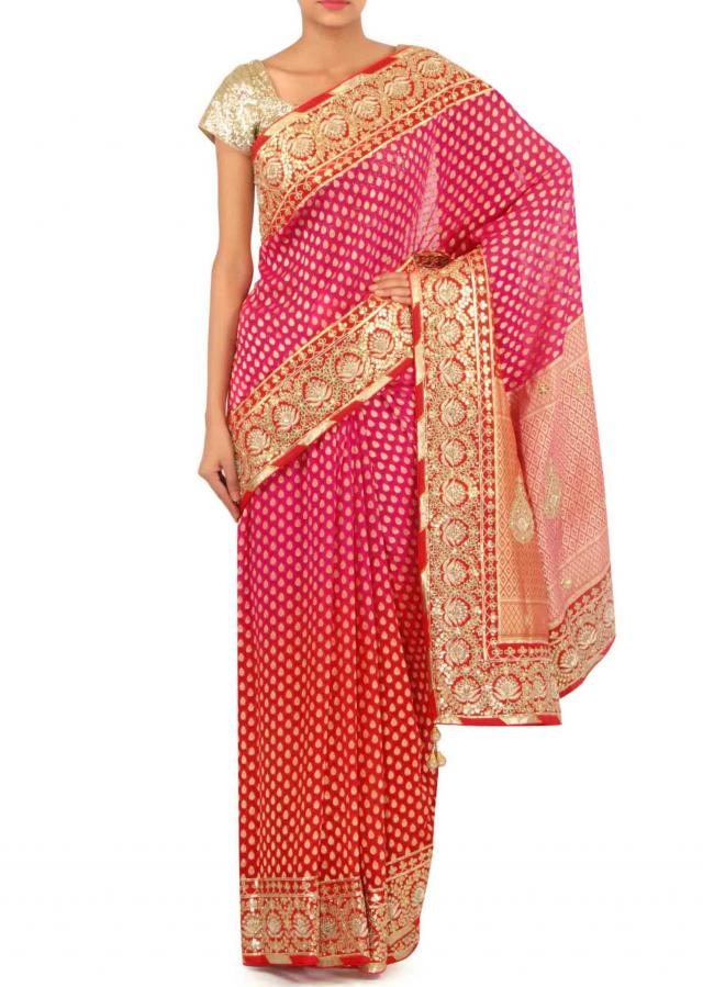 Pink and red saree with brocade pallav and gotta border only on Kalki