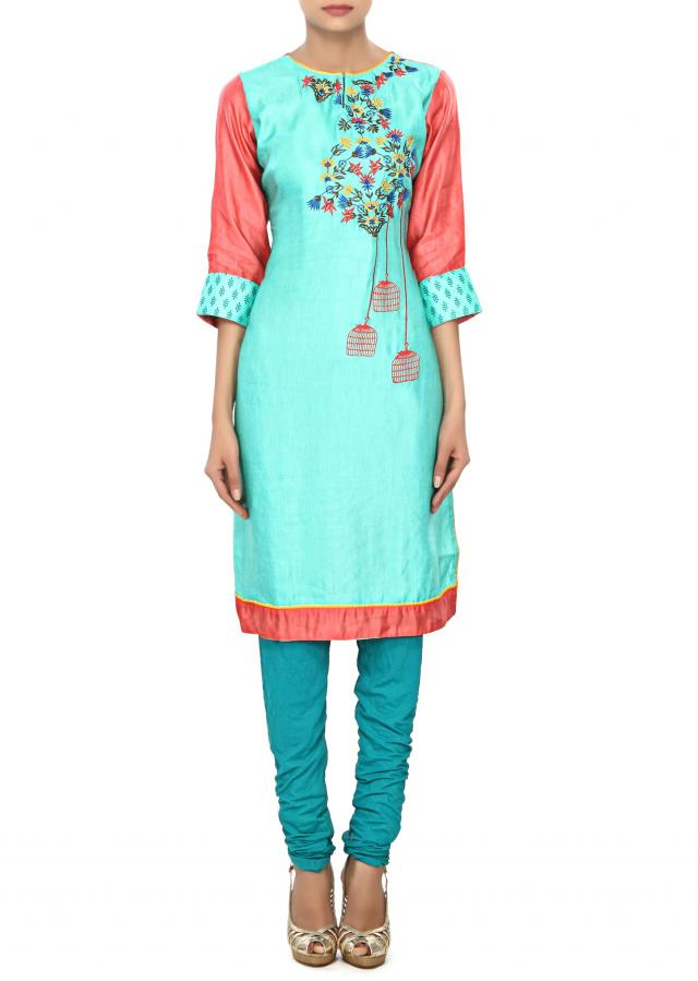 Pink and sea green kurti embellished in resham work only on Kalki