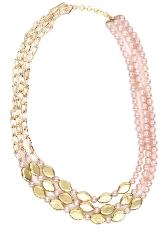 Pink beads with gold chain says it all only on Kalki