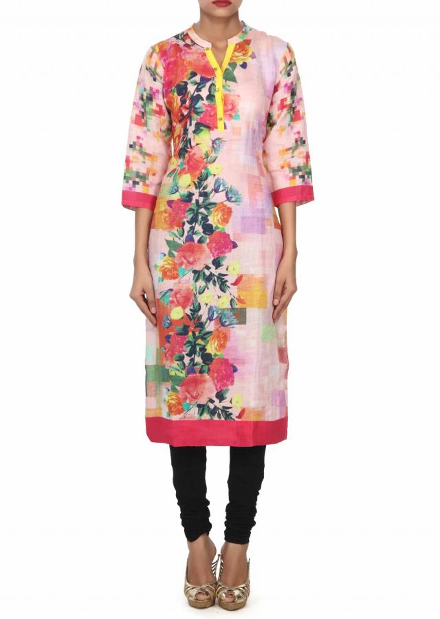 Pink cotton kurti features in floral print only on Kalki