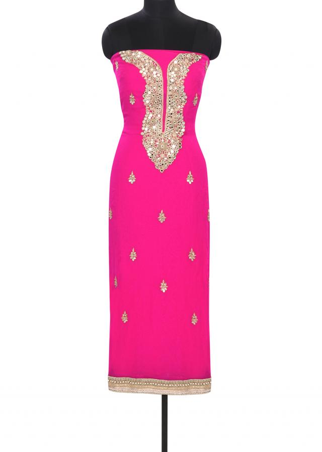 Pink each unstitched suit embellished in mirror and French knot embroidery only on Kalki