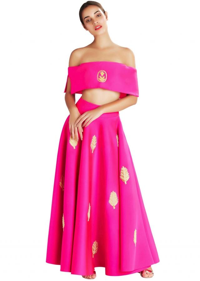 Pink embroidered off shoulder blouse  by Masaba