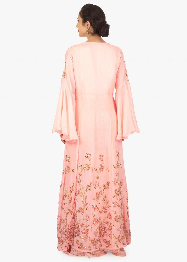 Pink georgette anarkali with thread work paired with a jacket only on Kalki