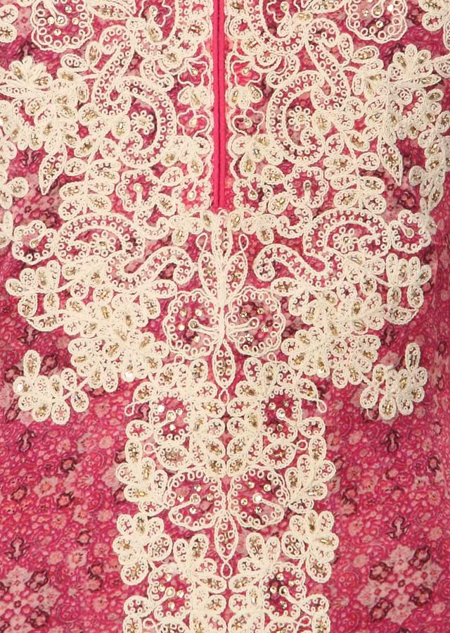 Pink kurit enahcned in thread embroidery only on Kalki