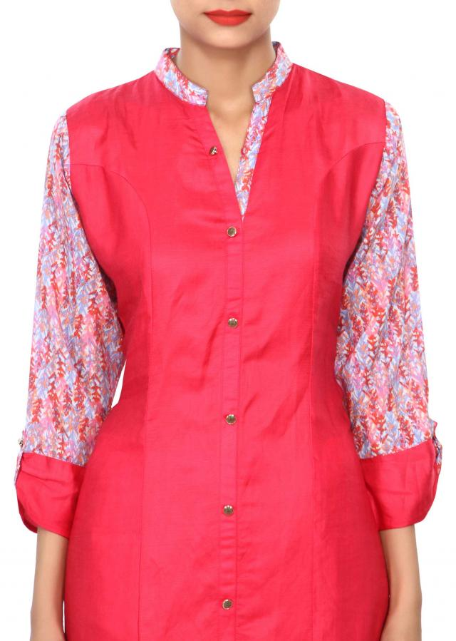 Pink kurti embellished in printed sleeve and collar only on Kalki