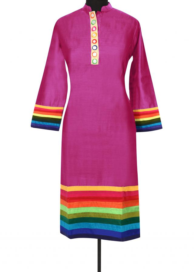 Pink kurti with contrast yoke only on Kalki