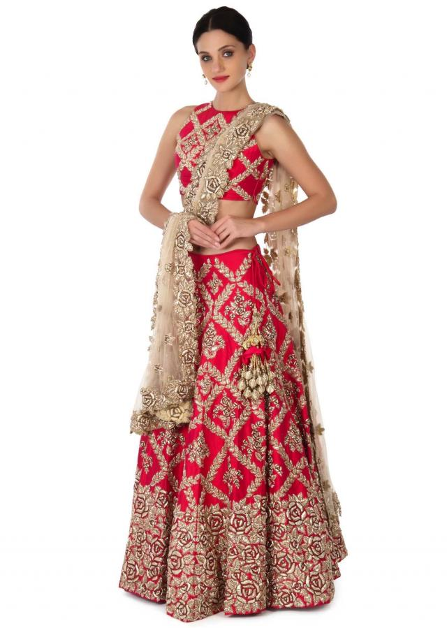 Pink lehenga adorn in zardosi in floral motif only on Kalki