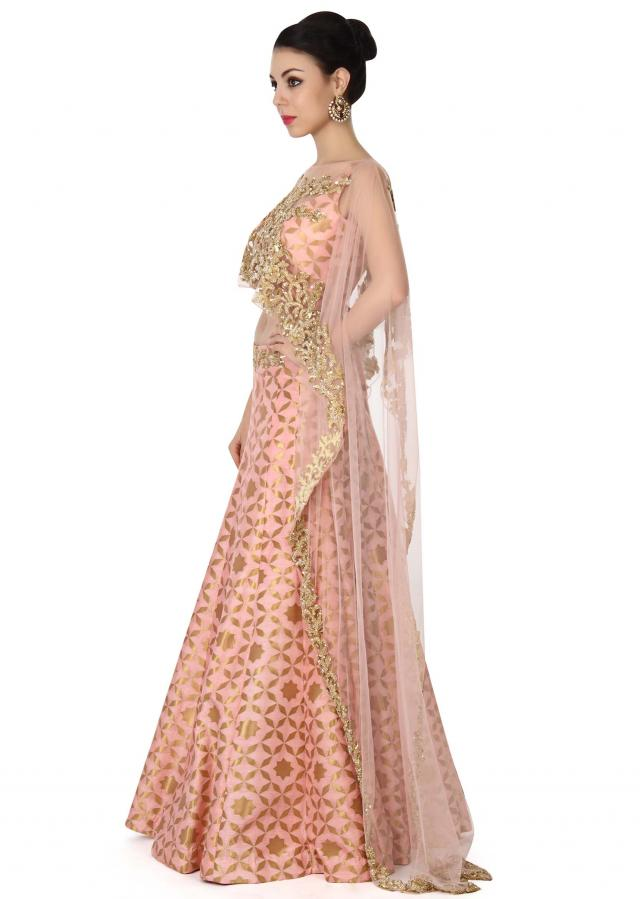 Pink lehenga with sequin embroidered cape only on Kalki