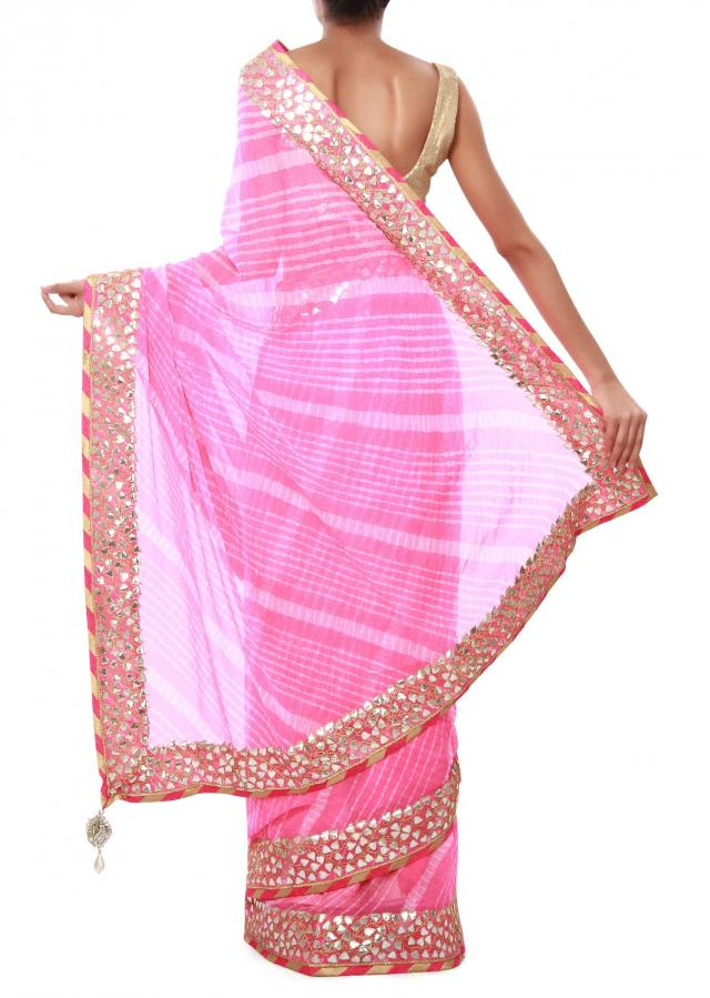 Pink leheriya saree adorn in gotta patch embroidery only on Kalki