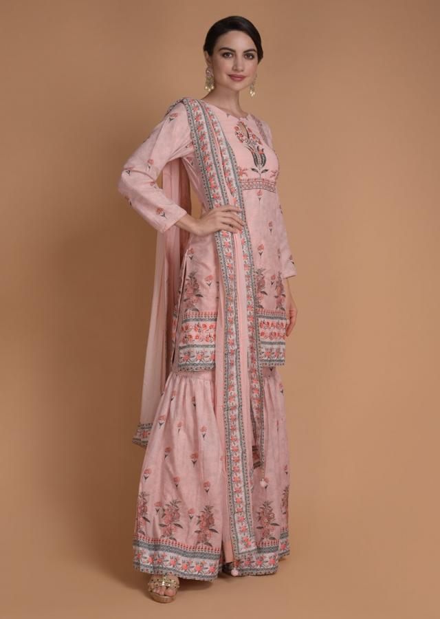 Rukshar Dhillon In Kalki Pink Peach Sharara Suit In Cotton With Floral Print And Zari Work