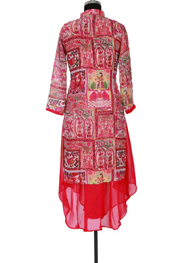 Pink printed kurti featuring in georgette only on Kalki