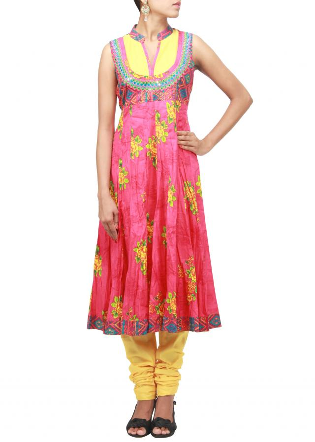 Pink printed suit embellished in mirror embroidery only on Kalki