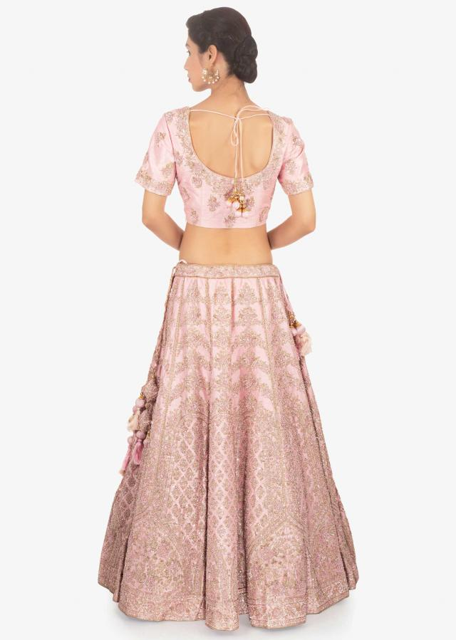 Pink Lehenga Set In Embellished Raw Silk Paired With Net Dupatta Online - Kalki Fashion