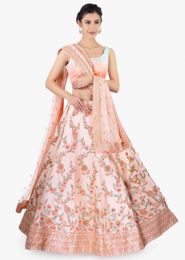 Pink Lehenga Set In Raw Silk Paired With A Matching Net Dupatta Online - Kalki Fashion