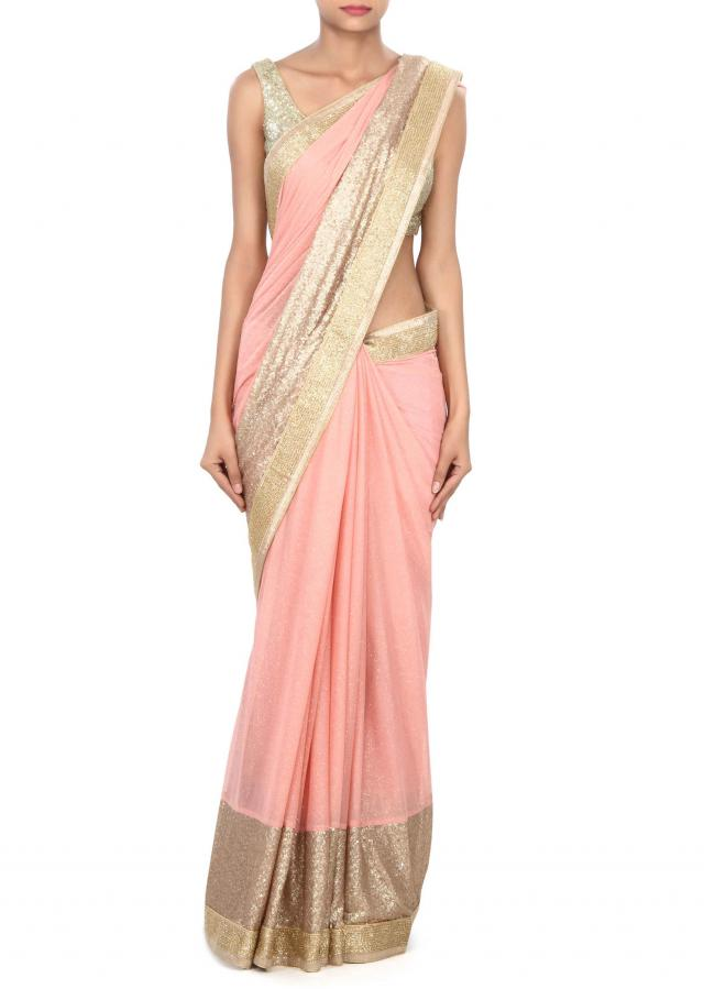 Pink saree adorn in sequin and kardana border only on Kalki