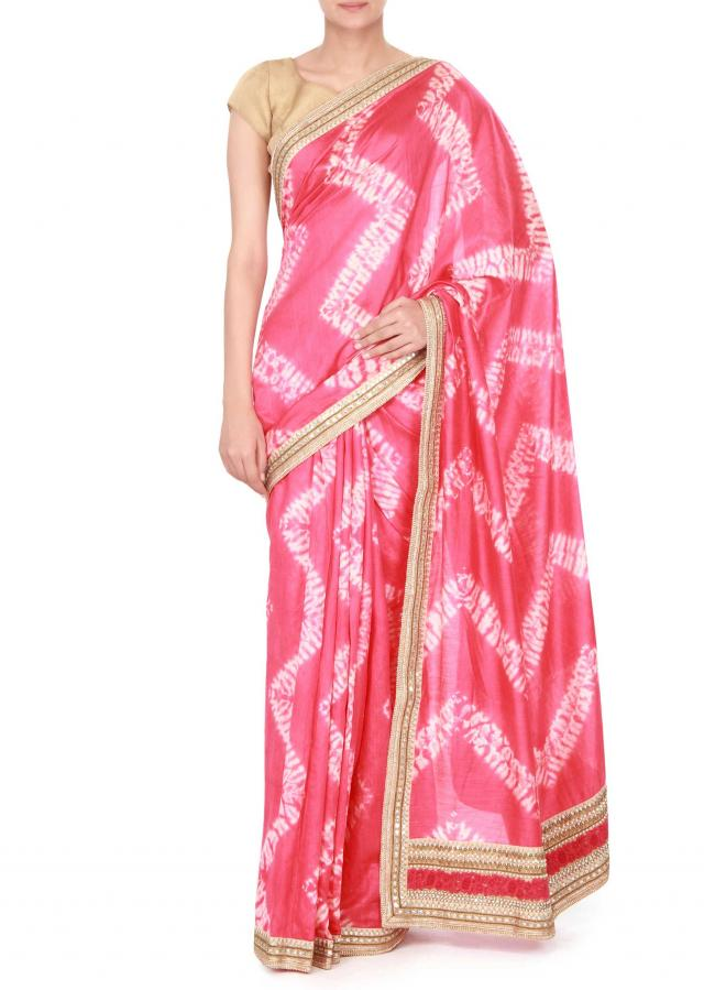 Pink saree aodrn in resham and gotta patch border only on Kalki