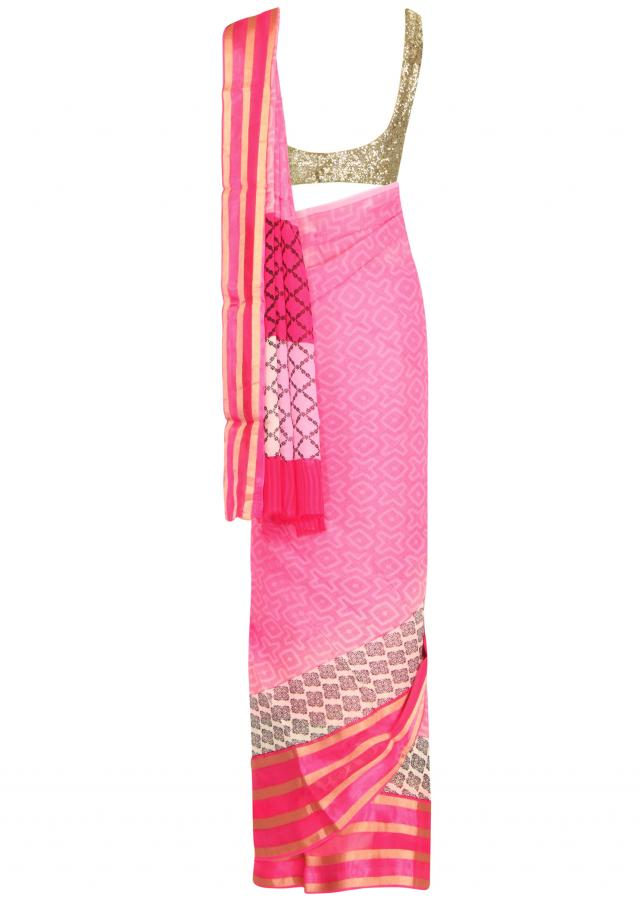 Pink saree enhanced in self print only on Kalki